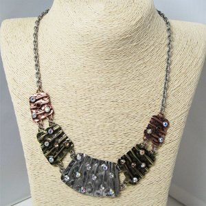 ABCD Mixed Metals Necklace AB Rhinestones - 18 in